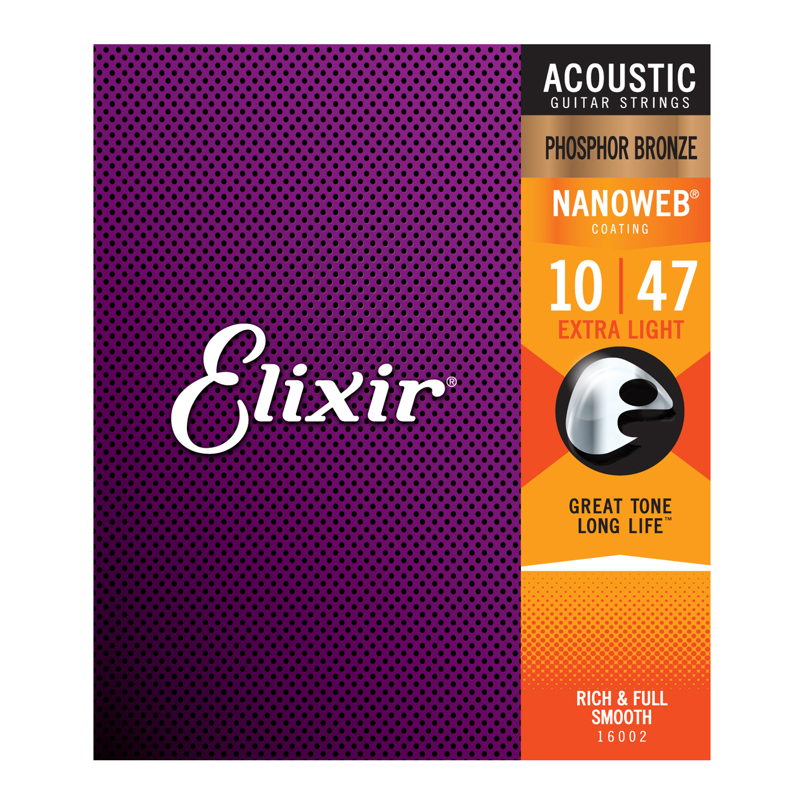 ELIXIR 16002 ACOUSTIC GUITAR STRINGS PHOSPHOR BRONZE NANOWEB 10-47
