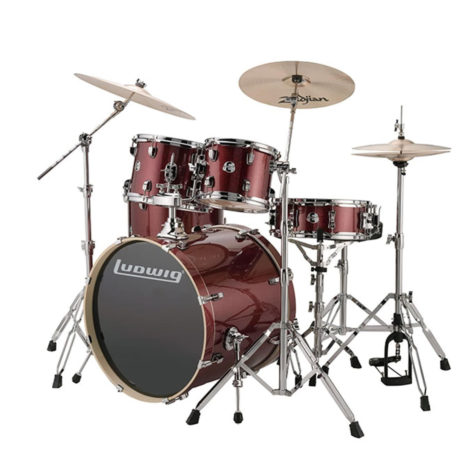LUDWIG EVOLUTION DRUM KIT - INCLUDES CYMBALS - RED SPARKLE