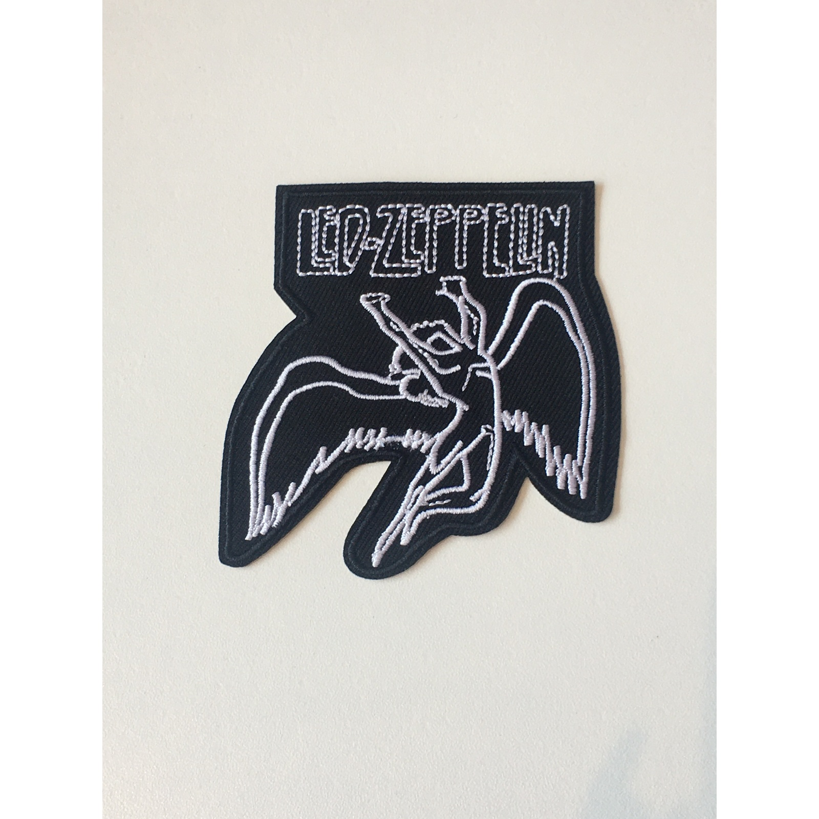 LED ZEPPELIN IRON ON BAND PATCH ANGEL WITH OUTLINE TEXT