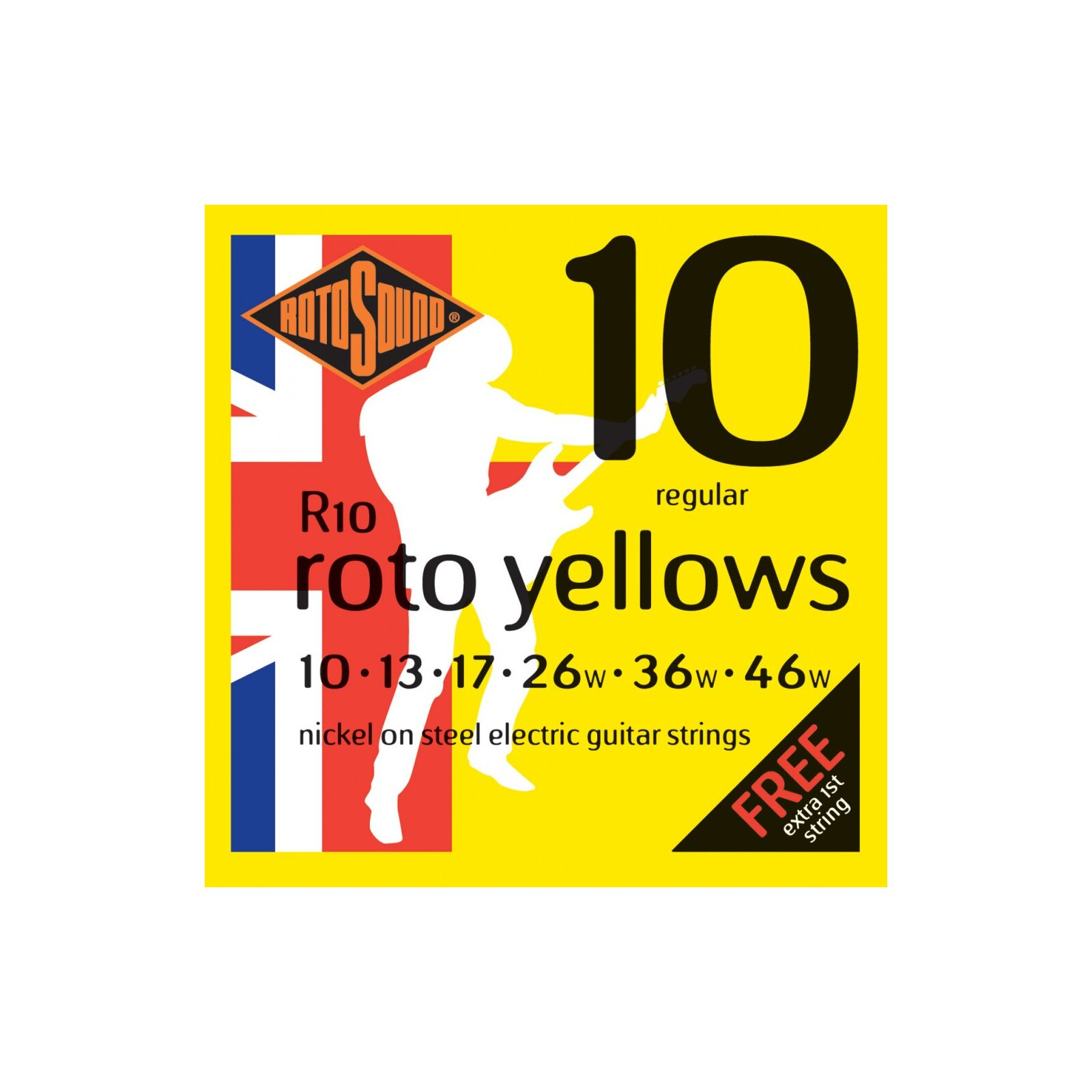 ROTOSOUND R10 ROTO YELLOWS STRING SET 10-46