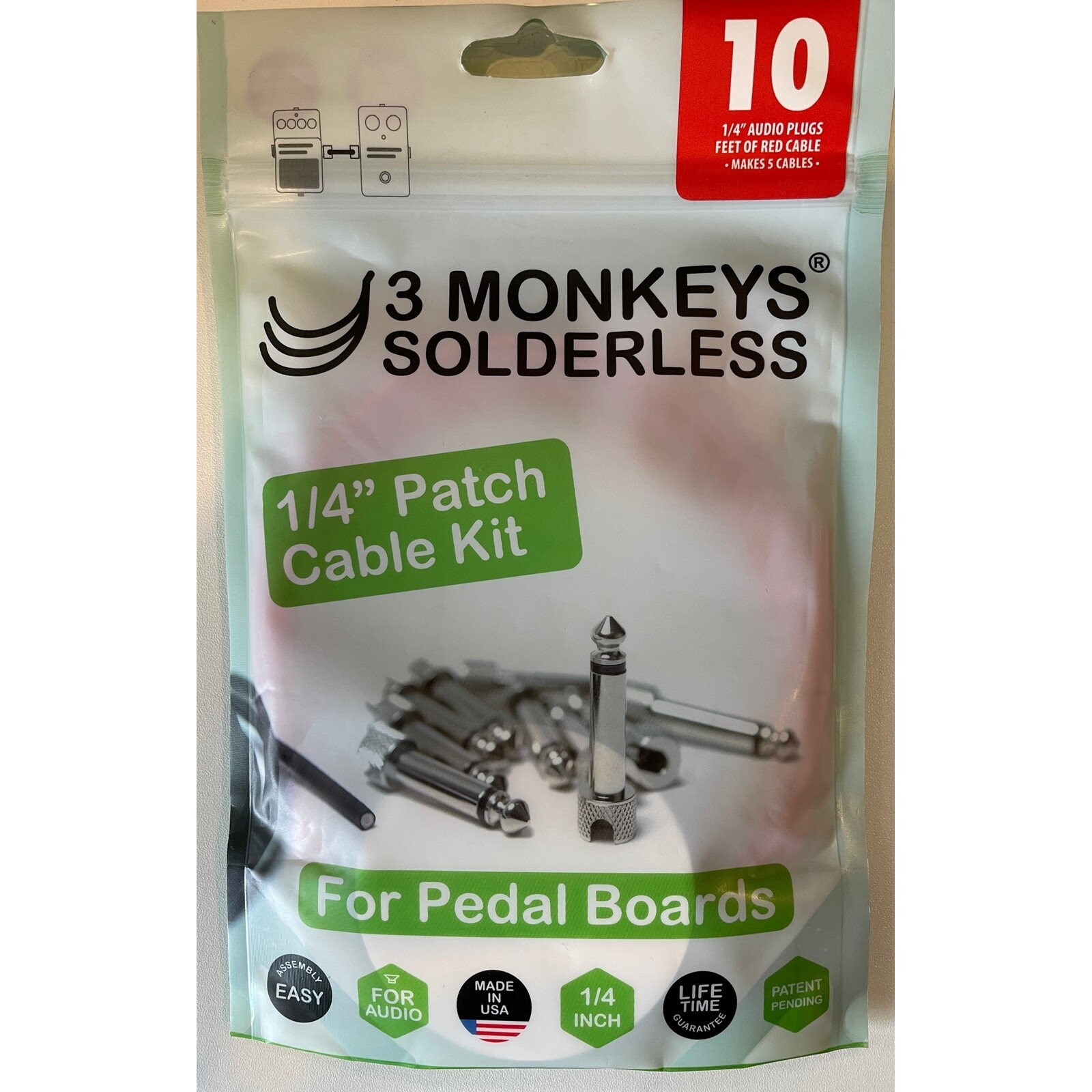 3 MONKEYS AUDIO PEDAL KIT 10 PLUGS- 10 FT CABLE (RED)