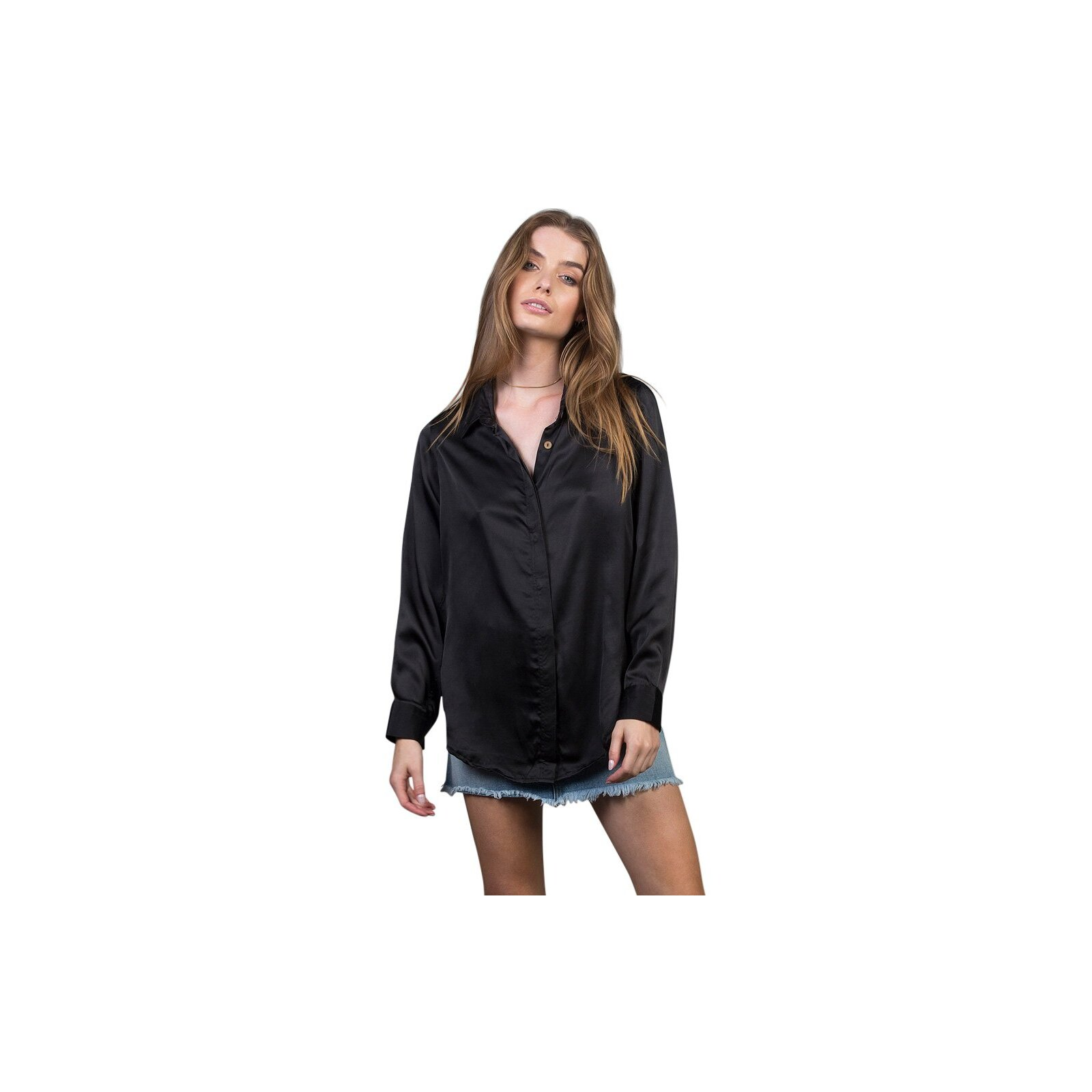 THE PEOPLE VS ZEPHYR SILK SHIRT L/S BLACK
