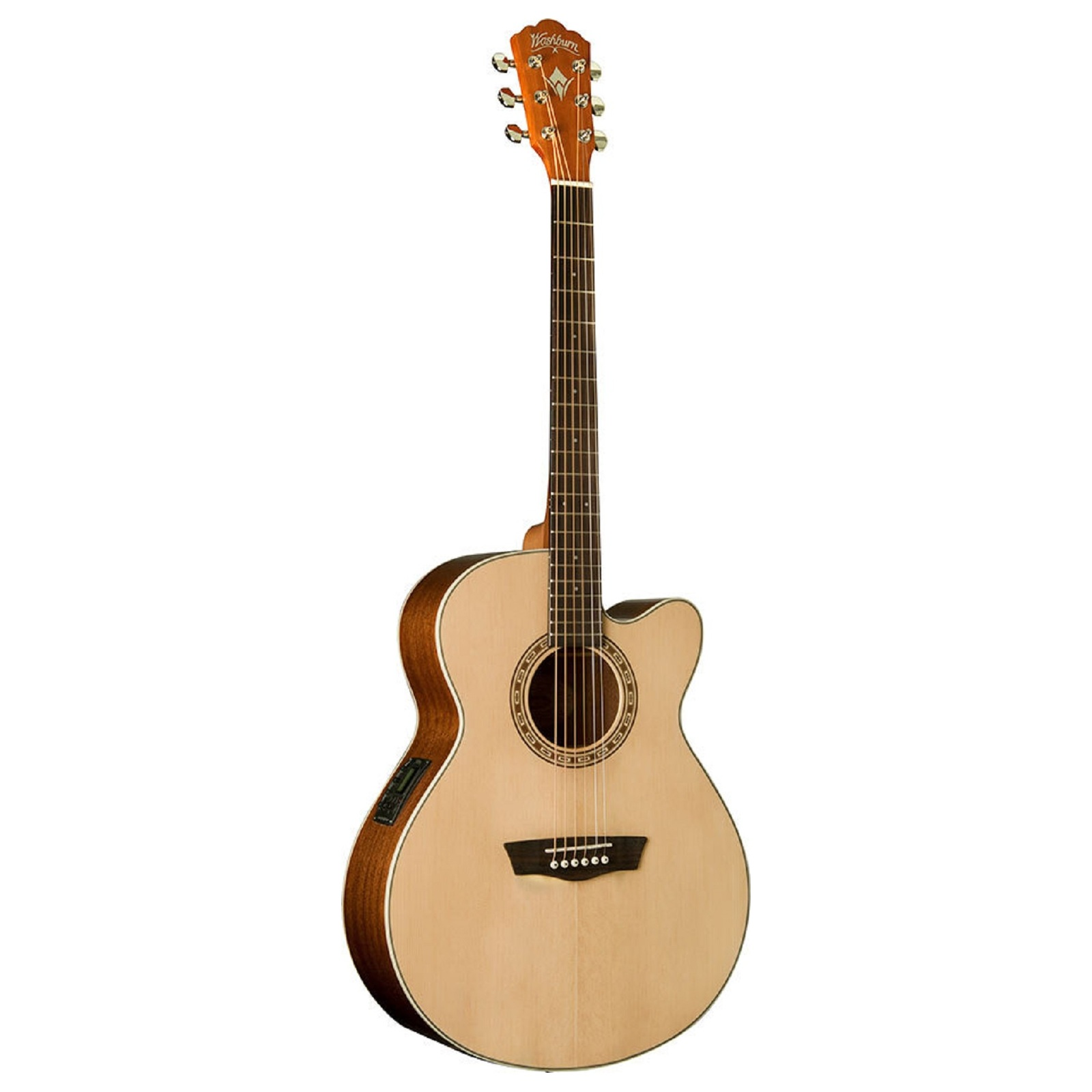 Washburn WG7SCE Harvest Grand Auditorium Cutaway Acoustic Guitar. Natural Gloss